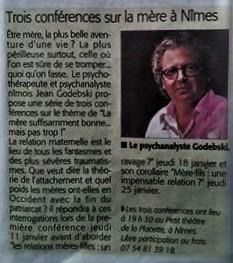 Midi Libre Conférences de Jean Godebski psychanalyste psychothérapeute à Nimes