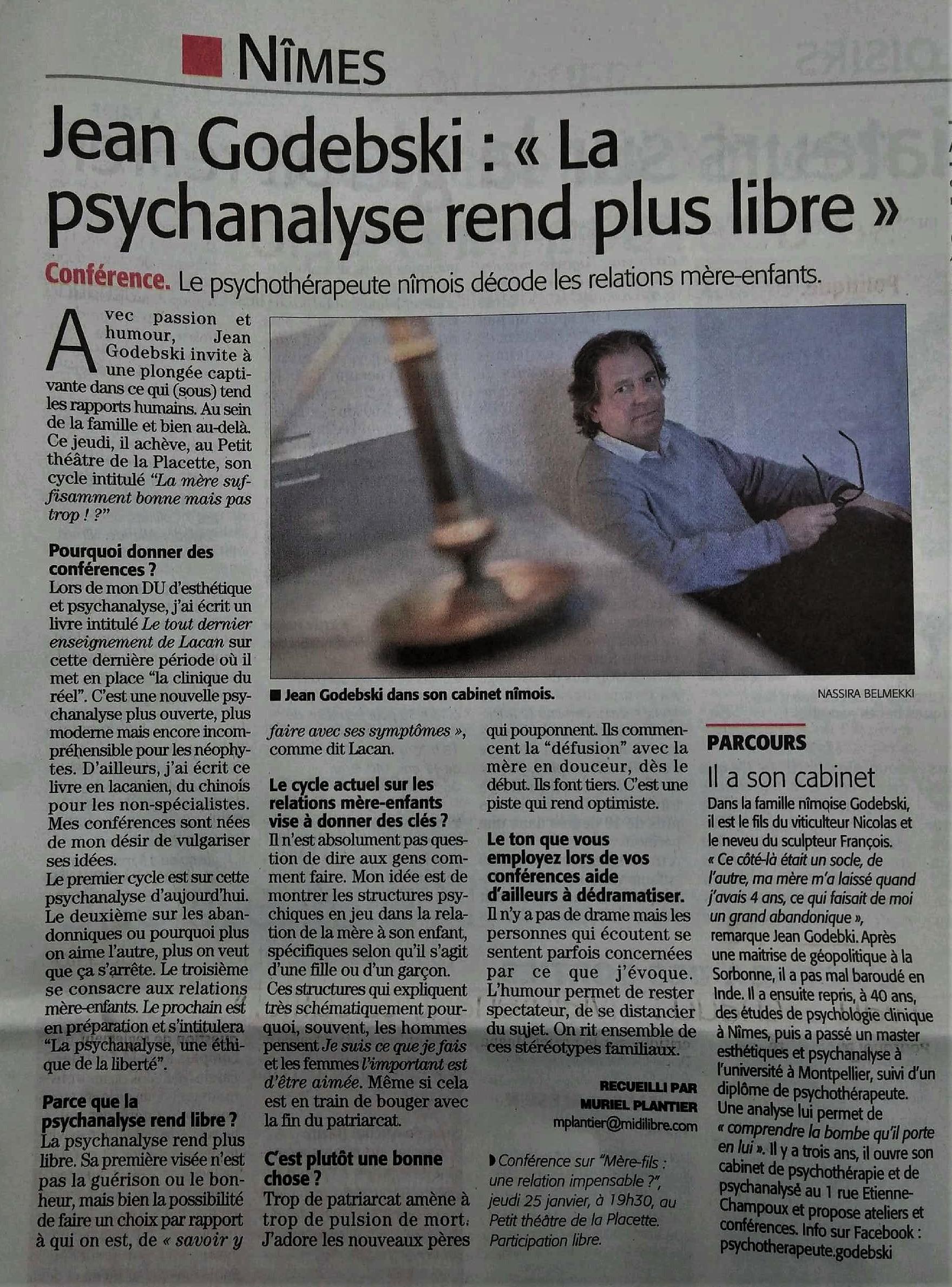 Conférence-Jean-Godebski-psychotherapeute-psychanalyste-Midi-Libre- nimes-2018