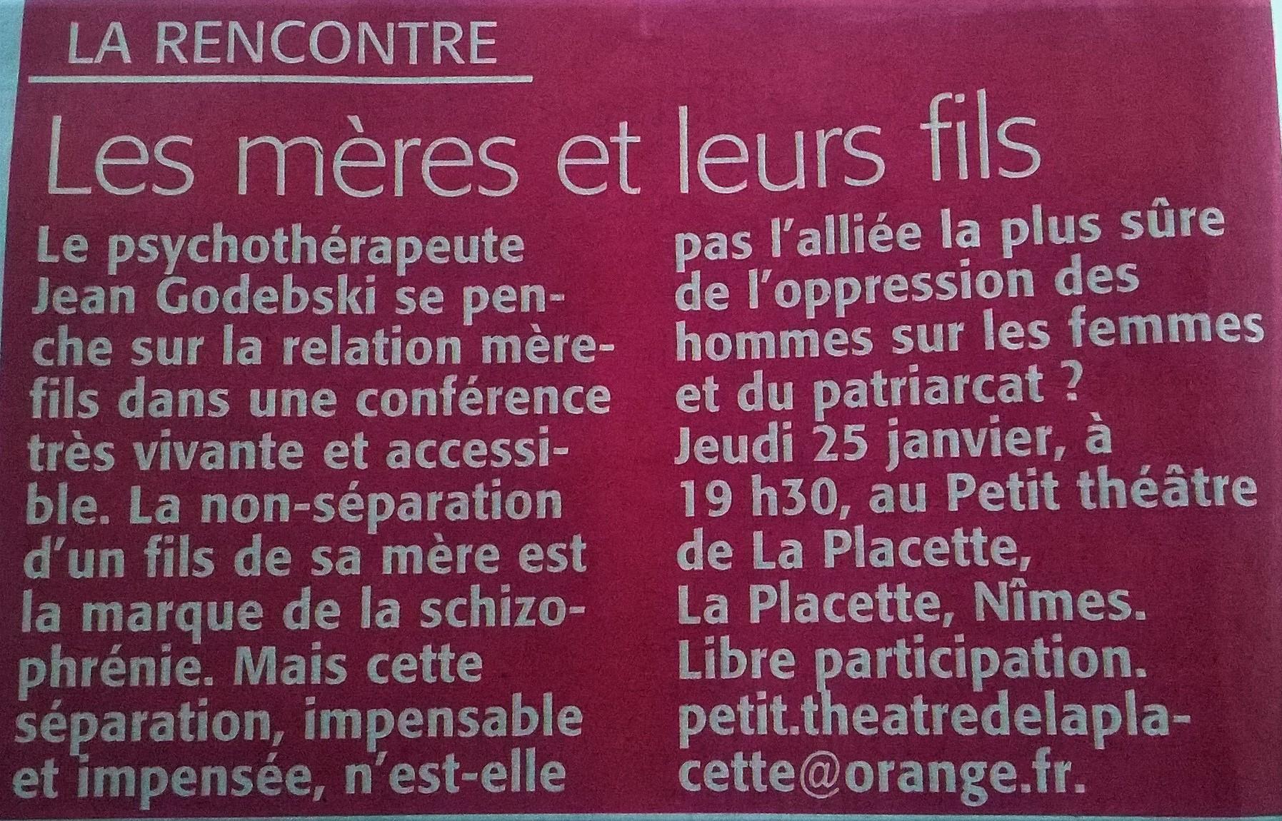 Midi Libre conférence psy Jean Godebski mère fils
